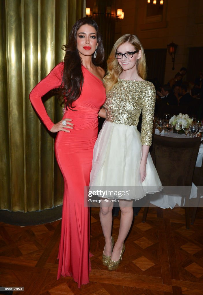 Sahar Biniaz, Miss Universe Canada 2012 and Lydia Hearst attend Operation Smile's Toronto Smile Event at Windsor Arms Hotel on March 7, 2013 in Toronto, Canada.