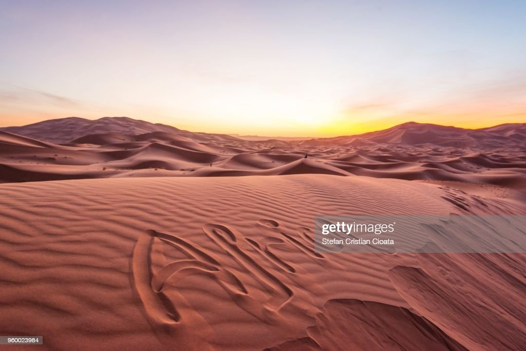 Sahara desert at sunrise, Merzouga, Morocco : Stock-Foto