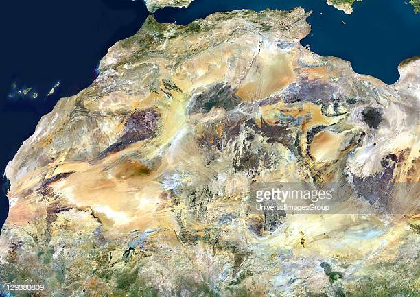 Sahara desert true colour satellite image The Sahara is the world's largest hot desert made of sand and volcanic mountains Composite image using data...