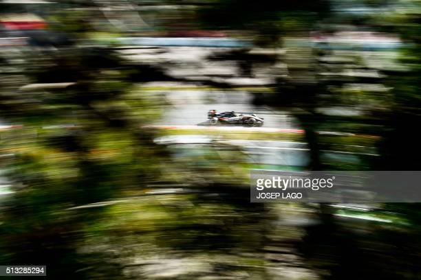 TOPSHOT Sahara Force India F1 Team's Mexican driver Sergio Perez drives at the Circuit de Catalunya on March 2 2016 in Montmelo on the outskirts of...