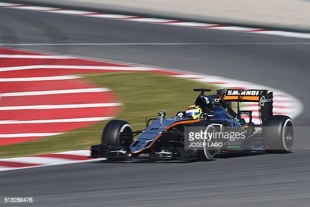 Sahara Force India F1 Team's Mexican driver Sergio Perez drives at the Circuit de Catalunya on March 2 2016 in Montmelo on the outskirts of Barcelona...
