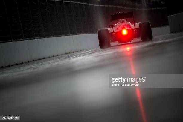 Sahara Force India F1 Team's Mexican driver Sergio Perez drives in the pits during the second practice session of the Russian Formula One Grand Prix...