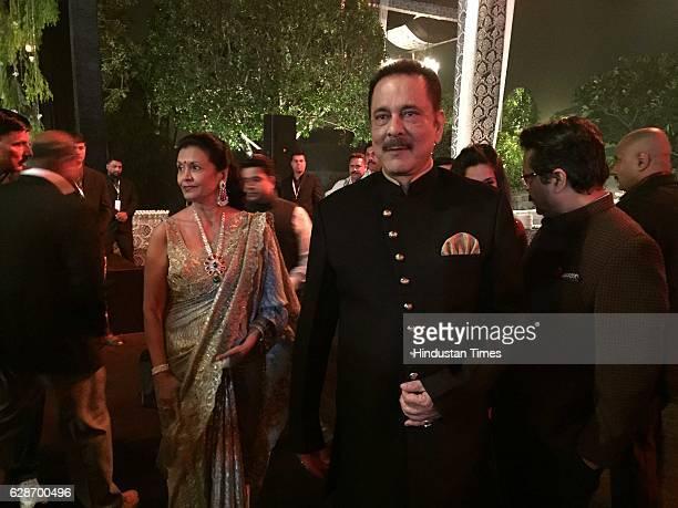 Sahara Group Chief Subrata Roy during the wedding reception of Indian Cricketer Yuvraj Singh and Bollywood actor Hazel Keech at ITC Maurya on...