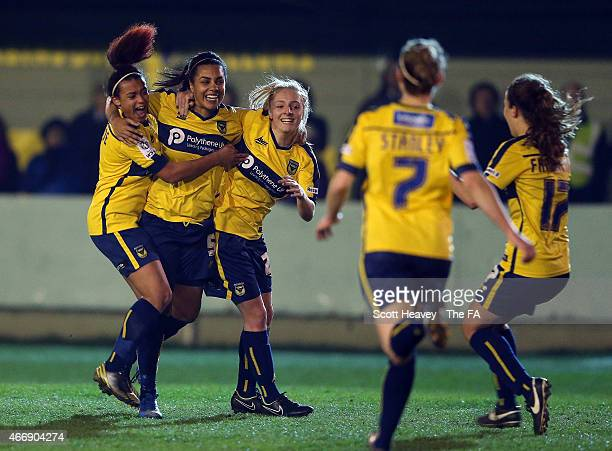 Sahara Osbourne-Picketts of Oxford celebrates after scoring their first goal during the WSL match between Oxford United Womens and Watford Ladies FC...