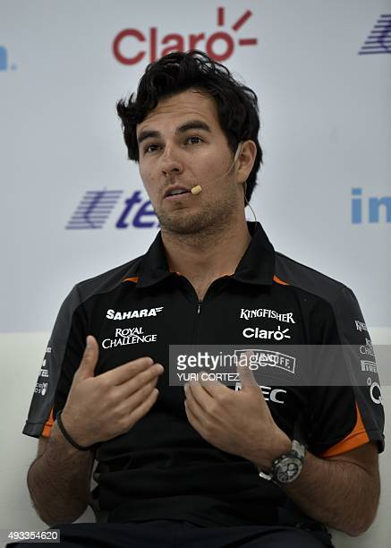 Sahara's Force India team driver Checo Perez speaks during a press conference in Mexico City on October 19 2015 Mexico will hold its Formula 1 Grand...