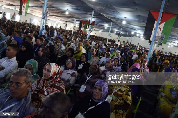 Saharawi delegates take part in the Extraordinary Congress of the Polisario Front on July 8 2016 at the Sahrawi refugee camp of Dakhla which lies 170...