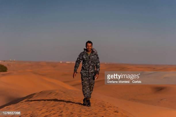 Saharawi military police control the area of the Sahara desert near in the Saharawi refugee camp Dakhla on December 31 2018 in Tindouf Algeria