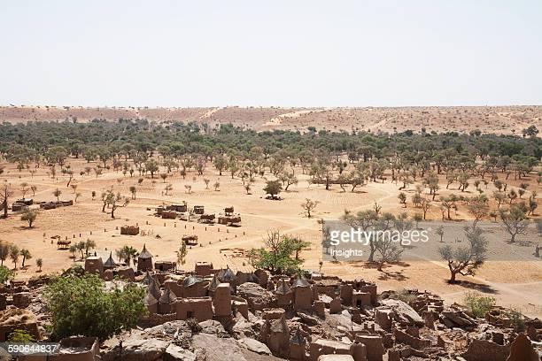 Sahel landscape as seen from the Bandiagara Escarpment in Irelli, Mali.