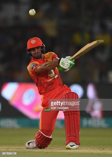 Sahibzada Farhan of Islamabad United plays a shot during the Pakistan Super League final match between Peshawar Zalmi and Islamabad United at the...