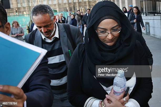 Sahima Begum sister of Shamima Begum leaves Parliament with Abase Hussein father of Amira Abase after attending the Home Affairs Select Committee on...