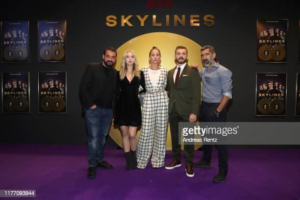 Sahin Eryilmaz Anna Herrmann Peri Baumeister Edin Hasanovic and Erdal Yildiz attend the premiere of the new Netflix series Skylines on September 25...