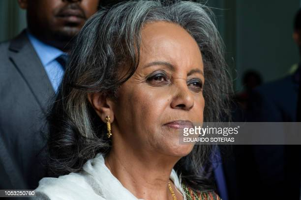 SahleWork Zewde leaves the Parliament after being elected as Ethiopia's first female President in Addis Ababa on October 25 2018