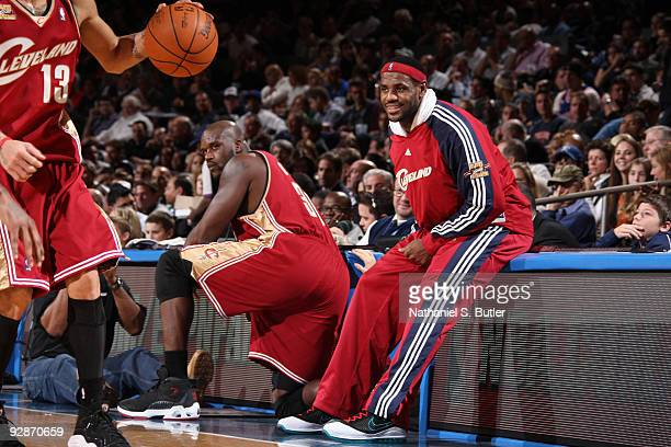 Sahquille O'Neal and LeBron James of Cleveland Cavaliers the show emotion during game against the New York Knicks on November 6, 2009 at Madison...