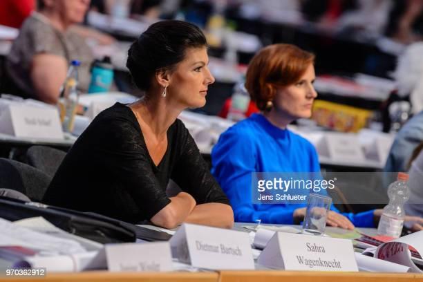 Sahra Wagenknecht Bundestag faction coleader of Die Linke Katja Kipping coleader of Die Linke attend the Die Linke federal party congress on June 9...