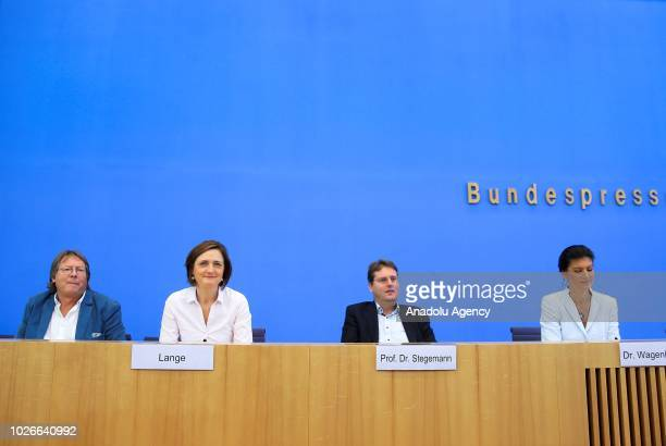 Sahra Wagenknecht Bundestag faction leader of Die Linke leftist political party holds a press conference to present a new leftwing political movement...