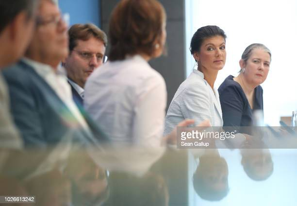 Sahra Wagenknecht Bundestag faction leader of Die Linke leftist political party and others speak to the media to present a new leftwing political...