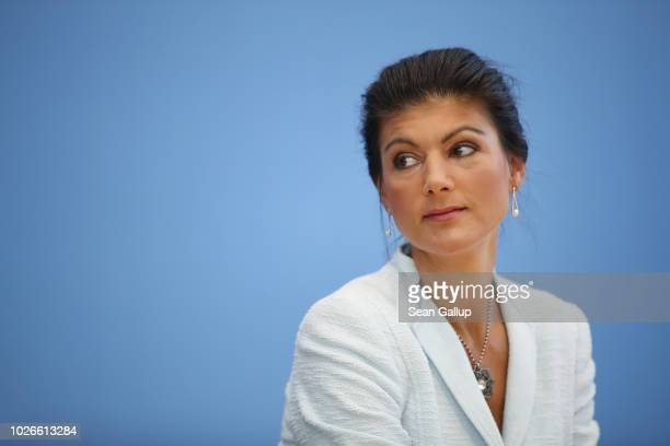 Sahra Wagenknecht Bundestag faction leader of Die Linke leftist political party speaks to the media to present a new leftwing political movement...