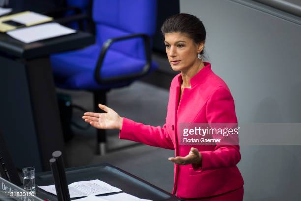 Sahra Wagenknecht The Left Party speaks during the meeting of the German Bundestag on March 21 2019 in Berlin Germany