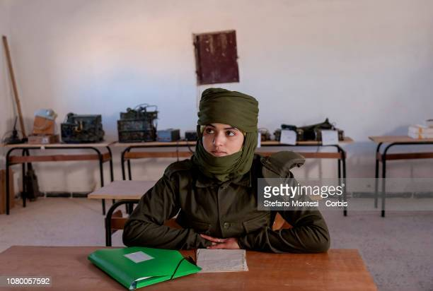 Sahrawi military cadet of the Sahrawi Armed Forces' Military Academy for women only during the lesson of radio transmission techniques on January 10...