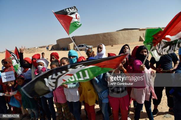 Sahrawi refugee children welcome the new UN envoy for the disputed territory of Western Sahara to the Aousserd camp for Sahrawi refugees on the...