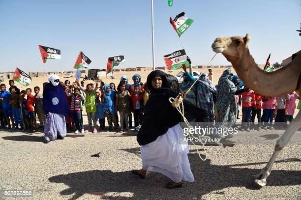 Sahrawi refugees welcome the new UN envoy for the disputed territory of Western Sahara to the Aousserd camp for Sahrawi refugees on the outskirts of...