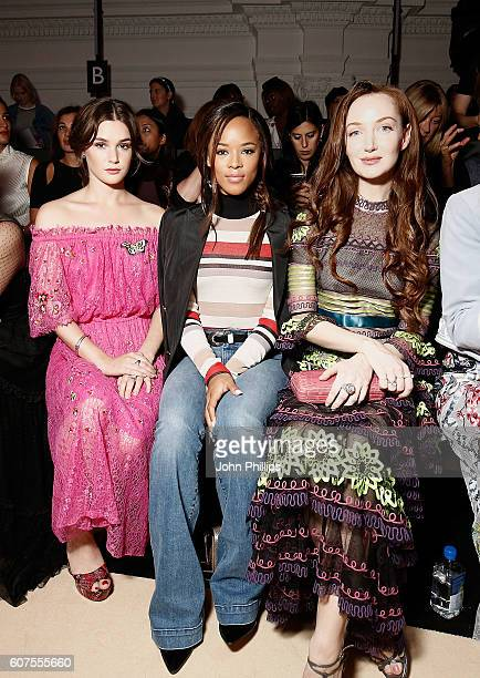 Sai Bennett Serayah McNeill and Olivia Grant at the Temperley London SS17 Fashion Show at The Lindley Hall on September 18 2016 in London England