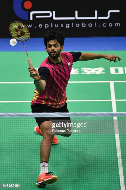 Sai Praneeth B of India competes against Qiao Bin of China during Men's Team Quarterfinal match of the EPlus Badminton Asia Team Championships 2018...