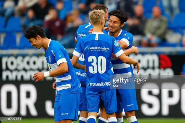 Sai van Wermeskerken of PEC Zwolle, Dean Huiberts of PEC Zwolle, Clint Leemans of PEC Zwolle, Yuta Nakayama or PEC Zwolle during the Dutch Eredivisie...