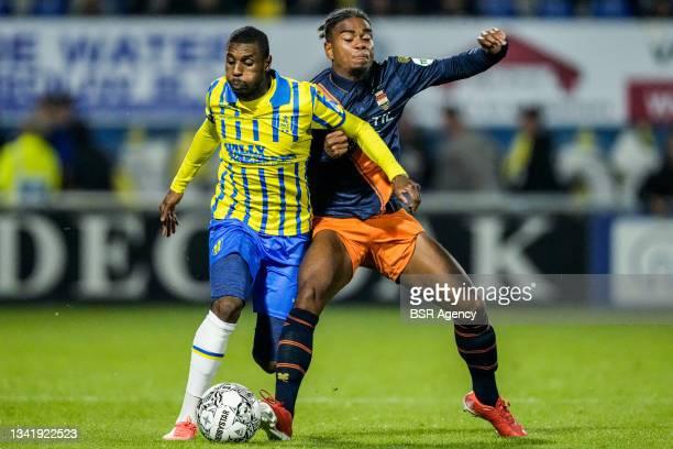 Said Bakari of RKC Waalwijk and Godfried Roemeratoe of Willem II during the Dutch Eredivisie match between RKC Waalwijk and Willem II at Mandemakers...