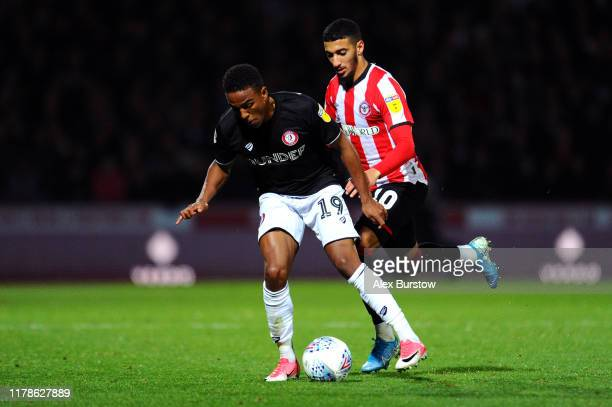 Said Benrahma of Brentford battles for possession with Niclas Eliasson of Bristol City during the Sky Bet Championship match between Brentford and...
