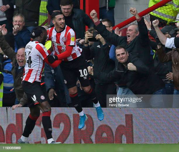 Said Benrahma of Brentford celebrates after scoring their first goal during the Sky Bet Championship match between Brentford and Queens Park Rangers...