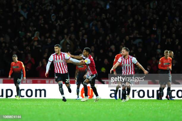 Said Benrahma of Brentford celebrates scoring his side's second goal during the Sky Bet Championship match between Brentford and Swansea City at...