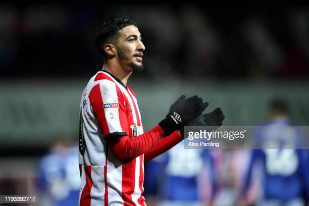 Said Benrahma of Brentford celebrates victory during the Sky Bet Championship match between Brentford and Cardiff City at Griffin Park on December 11...