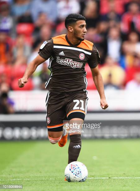 Said Benrahma of Brentford in action during the Sky Bet Championship match between Stoke City and Brentford at Bet365 Stadium on August 11 2018 in...