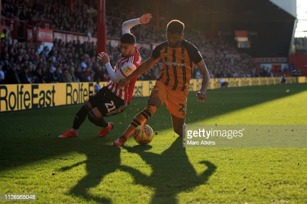 Said Benrahma of Brentford in action with Fraizer Campbell of Hull City during the Sky Bet Championship match between Brentford and Hull City at...