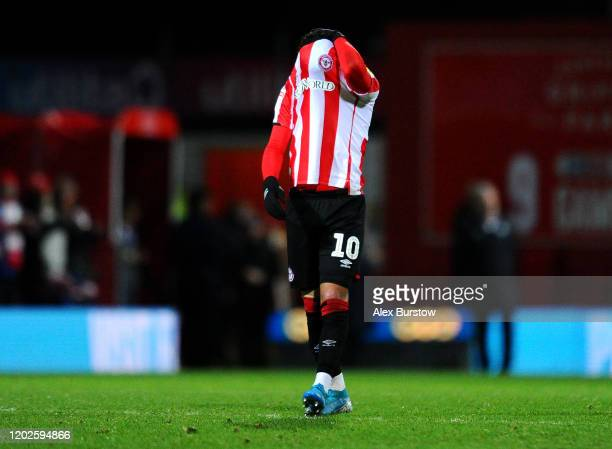 Said Benrahma of Brentford reacts at fulltime after his team's defeat in the Sky Bet Championship match between Brentford FC and Nottingham Forest at...
