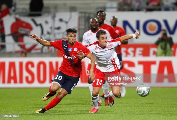 Said Benrahma of Chateauroux and Joffrey Cuffaut of Nancy during the Ligue 2 match between As Nancy Lorraine and Chateauroux on September 29 2017 in...