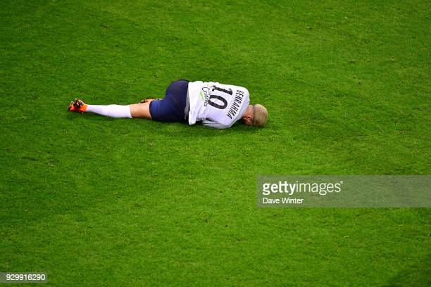 Said Benrahma of Chateauroux goes down injured during the French Ligue 2 match between Reims and Chateauroux at Stade Auguste Delaune on March 9 2018...