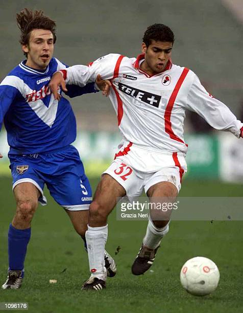 Said of Bari and Pirlo of Brescia in action during the SERIE A 17th Round League match between Bari and Brescia, played at the San Nicola Stadium,...