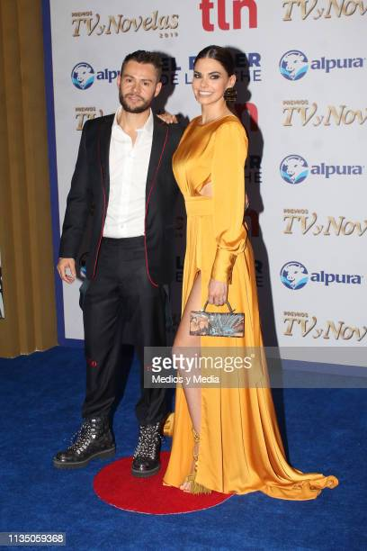 Said Pichardo and Livia Brito pose on the red carpet during the 'TV y Novelas' Awards 2019 at Campo Marte on March 10 2019 in Mexico City Mexico