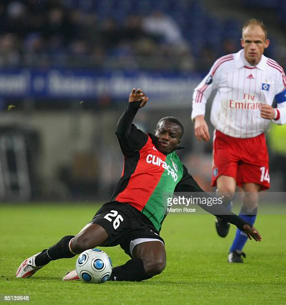 Saidi Ntibazonkiza of Nijmegen in action during the UEFA Cup Round of 32 second leg match between Hamburger SV and NEC Nijmegen at the HSH Nordbank...