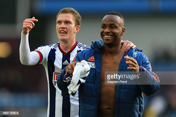 Saido Berahino and Craig Gardner of West Bromwich Albion celebrate their team's 10 win in the Barclays Premier League match between Aston Villa and...