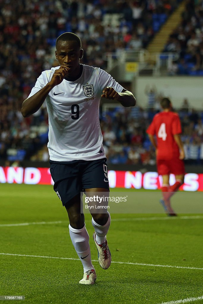 Saido Berahino of England celebrates scoring during the 2015 UEFA European U21 Championships Qualifier between England U21 and Moldova U21 at the Madejski Stadium on September 5, 2013 in Reading, England.