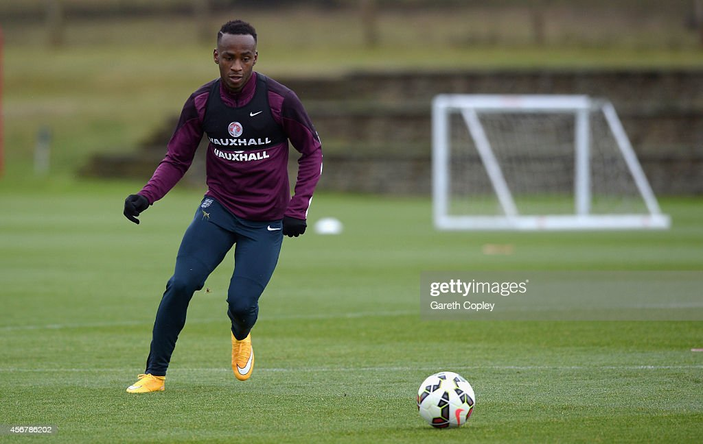 Saido Berahino of England during an England Under 21 training session at St Georges Park on October 7, 2014 in Burton-upon-Trent, England.