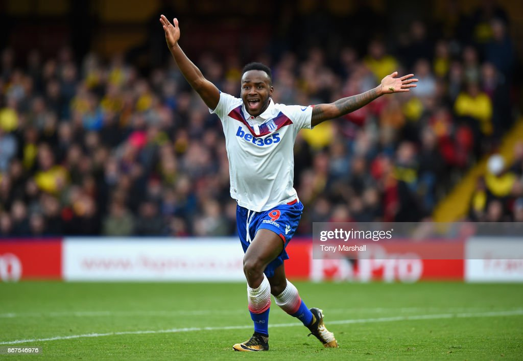 Saido Berahino of Stoke City appeals for a foul during the Premier League match between Watford and Stoke City at Vicarage Road on October 28, 2017 in Watford, England.