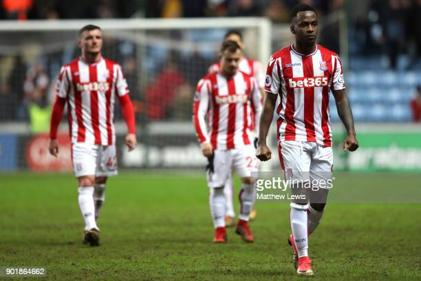 Saido Berahino of Stoke City looks dejected after The Emirates FA Cup Third Round match between Coventry City and Stoke City at Ricoh Arena on...