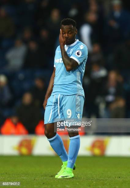 Saido Berahino of Stoke City reacts during the Premier League match between West Bromwich Albion and Stoke City at The Hawthorns on February 4, 2017...