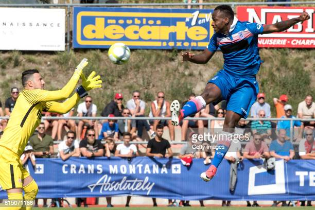 Saido Berahino of Stoke City shoots against Goalkeeper Danijel Subasic of AS Monaco during the friendly match between AS Monaco and Stoke City at...
