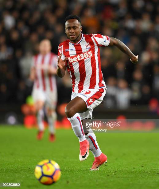 Saido Berahino of Stoke during the Premier League match between Stoke City and Newcastle United at Bet365 Stadium on January 1 2018 in Stoke on Trent...
