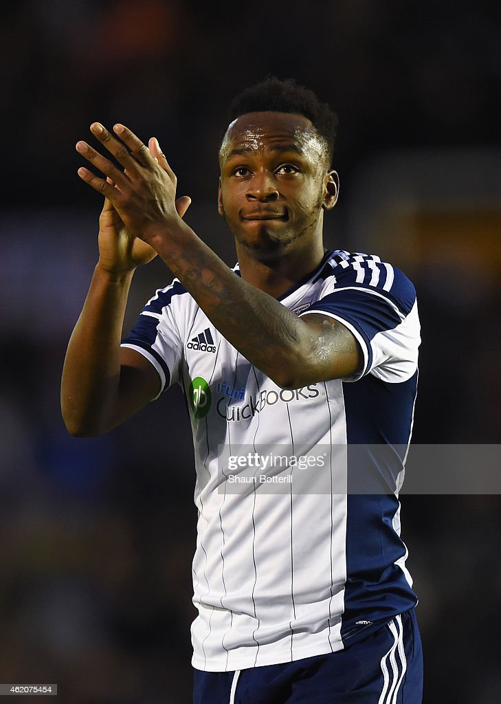 Saido Berahino of West Brom applauds the fans after the FA Cup Fourth Round match between Birmingham City and West Bromwich Albion at St Andrews on January 24, 2015 in Birmingham, England.